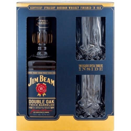Jim Beam Double Oak + 2 skla 43% 0